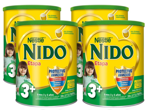 Leche Nido 3 + Protectus® 1600g Pack X4 Tarros