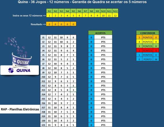 Planilha Quina - 12 Números Em 36 Jogos