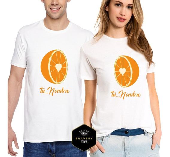 2 Remeras Media Naranja - Parejas - Novios - Editable