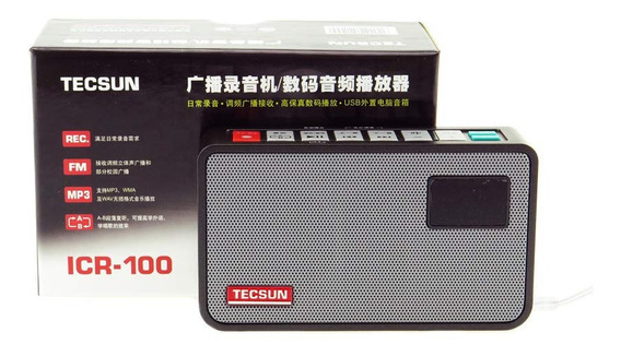 Tecsun Digital Audio Player & Gravador Icr-100 Rec Fm Mp3