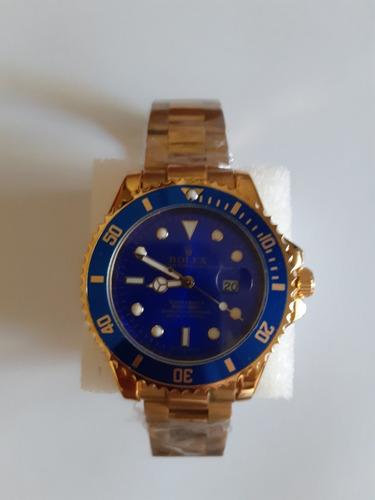 Relogio Submariner Masculino Folheado Azul 45mm Com Caixa