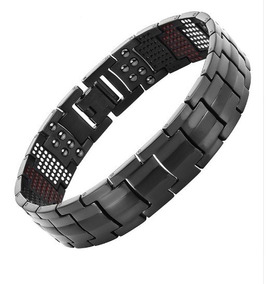Pulseira Preta Bracelete De Titânio 591 Pedras Terapêuticas