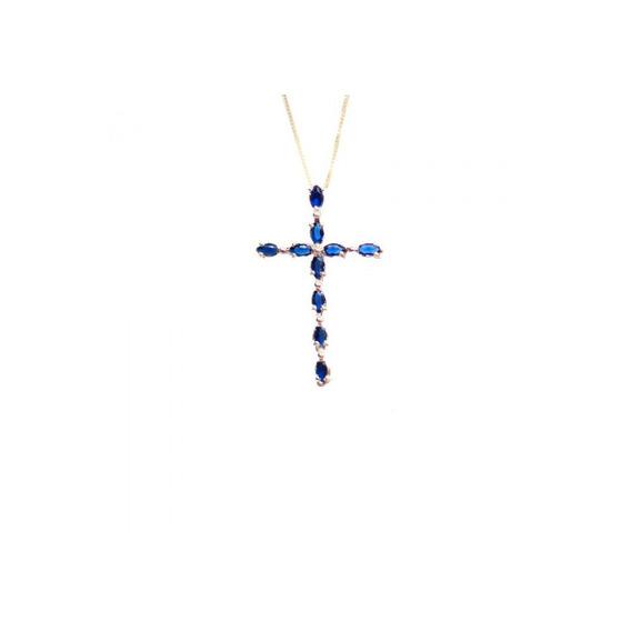Cordão Cruz Zircônia Azul Folheado A Ouro 18k
