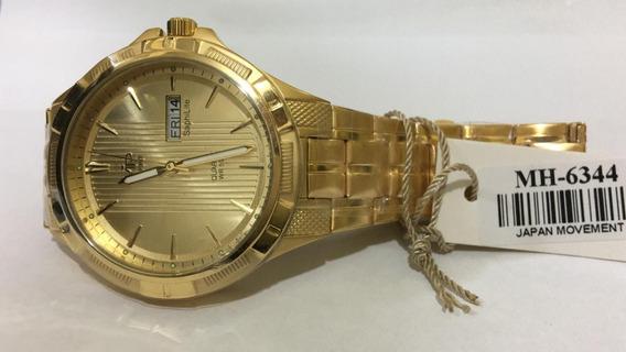 Relógio Vip Mh-6344-1 Pulseira Dourada Original Novo + Nota