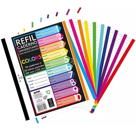 Folha Fichário C/500 Folhas Coladas Refil Color 4 Furos