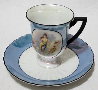 Antigua Taza Para Chocolate Con Plato Porcelana Alemana