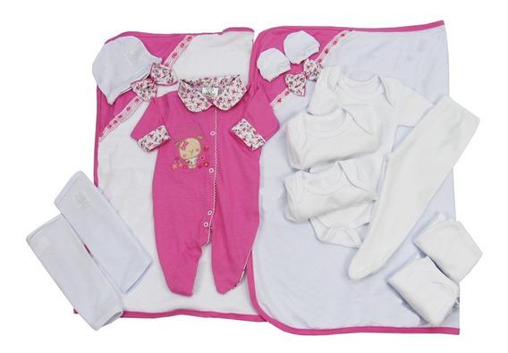 Kit Bebê 13 Peças Saída Maternidade Enxoval Menina Rosa Pink