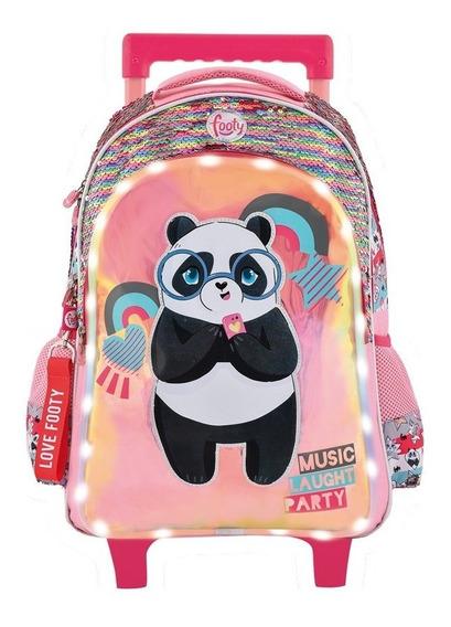 Mochila Footy Panda Music C/l. Led,carro Y Lentejuelas F1291