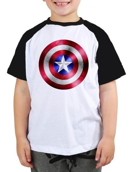 Camiseta Capitão América Escudo Marvel Raglan Infantil