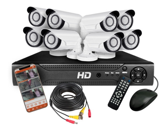Kit 8 Camaras Seguridad Ip Dvr Full Hd Cctv Hdmi Infrarroja