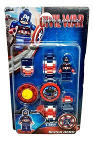 Relógio Digital Infantil Capitão América + Lego