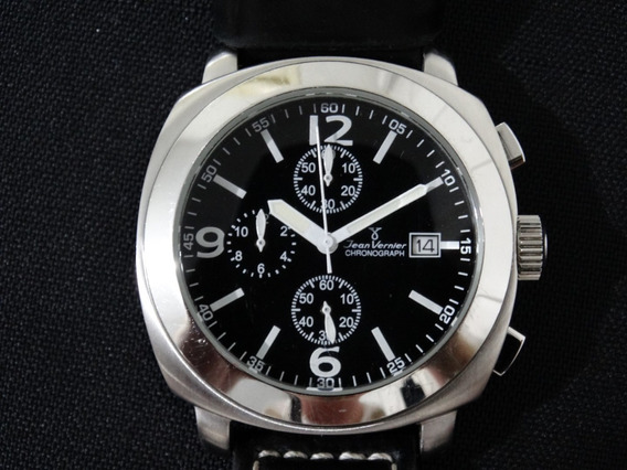 Relógio Masculino Jean Vernier Cronografo Preto Em Couro