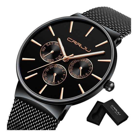 Relógio Masculino Crrju Original Social Casual Com Estojo