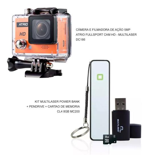 Kit Câmera De Ação Atrio Hd + Power Bank Pendrive E Cartão