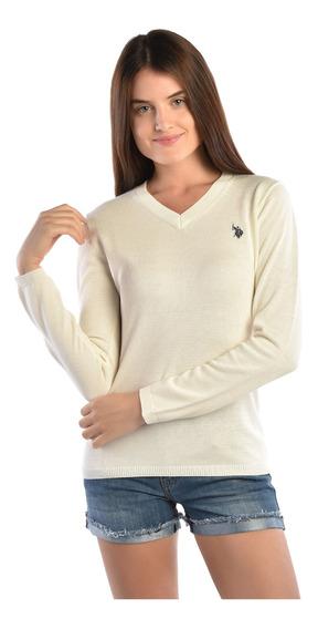 Suéter Regular Fit U.s. Polo Beige Uszswtl442593 Mujer