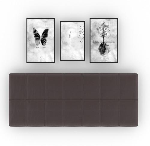 Imagen 1 de 2 de Cuadro Cabecera Colgable Matrimonial Empotrable Chocolate