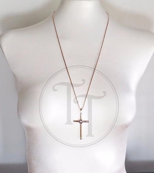 Collar Cruz En Titanio Rosa 18k Swarovski Cz