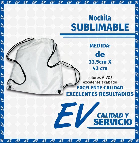 Morral Mochila Blanco Sublimable Sublimación (1 Pza)