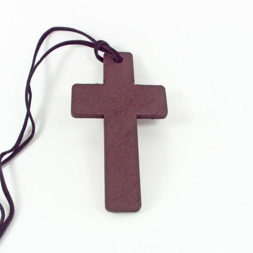 Crucifixo Rústico Cruz Em Madeira + Cordão De Couro Grande