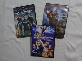 Lote Dvds Marvel 4 Fantásticos + Ironman 2 + Capitan America