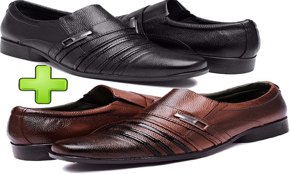 Sapato Masculino Social Kit 2 Pares Sapatenis Casual Couro