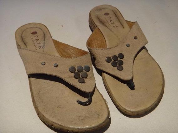 Sandalias De Mujer Color Marron Usada Talle 35 (quilmes)