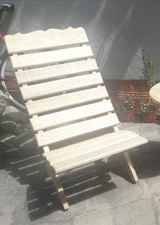 Silla De Madera Plegable Para Jardín