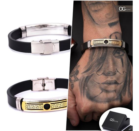 Pulseira Bracelete Masculino Ogrife J-458 Silicone Aço Inox