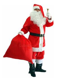 Roupa De Papai Noel Profissional Em Veludo Com 10 Itens
