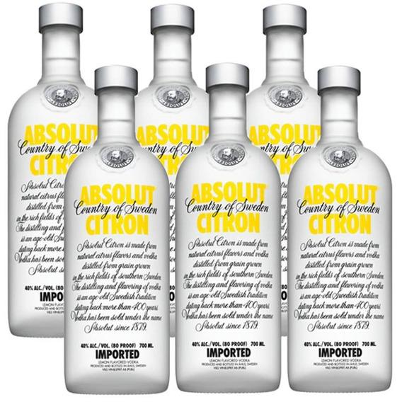 Vodka Absolut Citron 750ml 06 Unidades