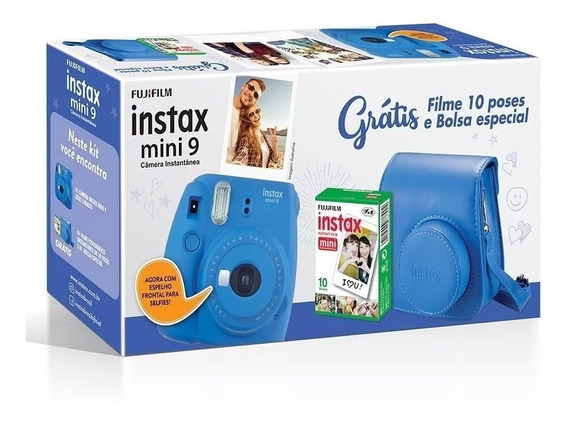 Kit Câmera Instax Mini 9 Azul Com Câmera, Bolsa + 30 Filmes