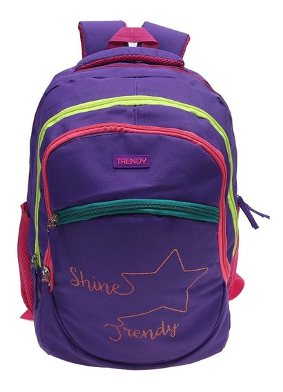 Mochila Urbana Escolar Trendy Shine Colores Divisiones