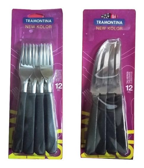 Cubiertos Tramontina Set New Color Cuchilo Tenedor X 24 Unid