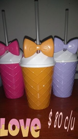 10 Vasos Helado Y Sorbete Con Moño De Nena