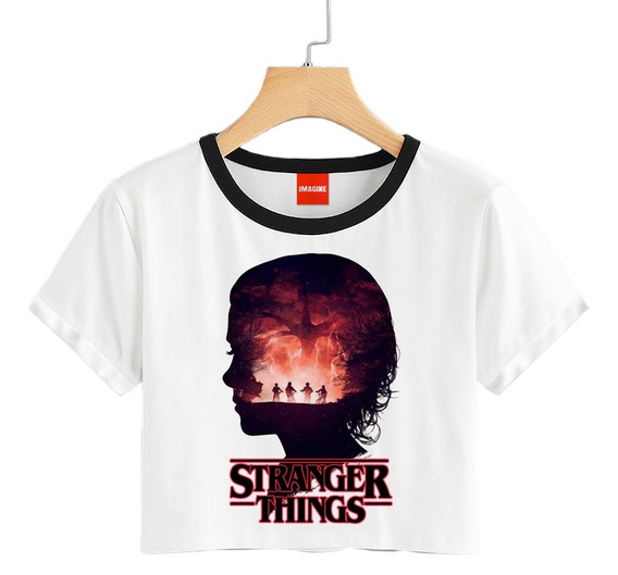Blusa Stranger Things Playera Focos Crop Eleven #783