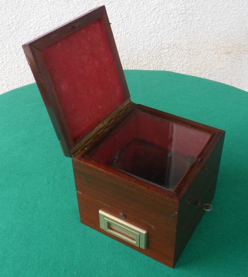 Caixa Antiga De Cronometro Madeira & Vidro - S I N G U L A R