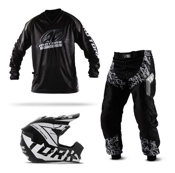 Kit Trilha Motocross Pro Tork Insane In Black 3 Itens