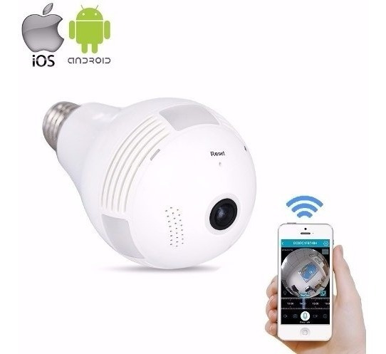 Lampada Espia Camera Ip Led Wifi Hd Panoramica 360 Celular
