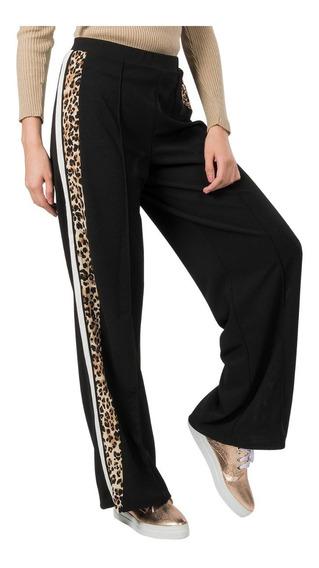 Pantalones Dama Anchos Flojos Franja Leopardo Animal Print