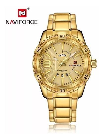 Relógio Naviforce Dourado Ouro Luxo Analógico Frete Grátis