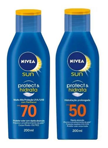 Imagem 1 de 3 de Kit Protetor Solar Nívea Fps70 E Fps50 Protect E Hidrata