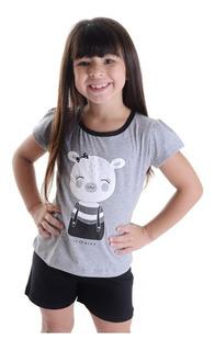 Pijama Ursa Leonor Infantil Meninas Blusa Branca Short Preto
