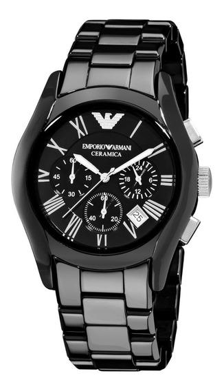 Relógio Vz1947 Emporio Armani Cerâmica Black Ar1400 / Caixa