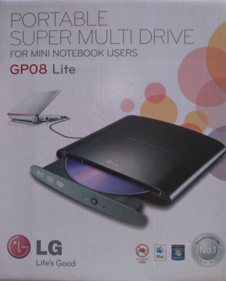 Drive Externo Gravador De Dvd Lg Usb - Gp08 Lite