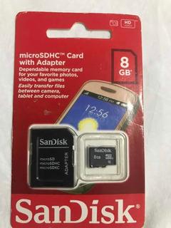 Cartão De Memória Micro Sd Sandisk 8gb + Adaptador