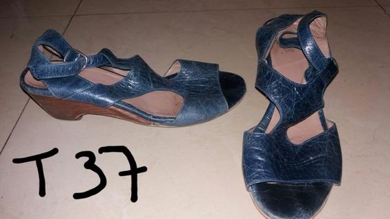 Sandalias De Cuero Azul Petróleo Talle 37