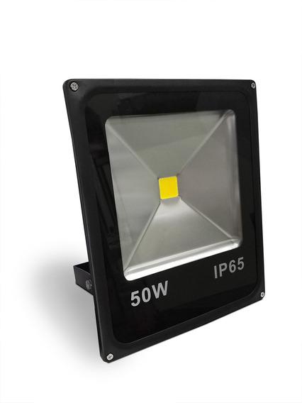 Refletor Led 50w Preto Slim 3000k - Bivolt - Longniu/fse