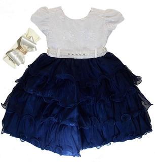 Vestido Menina Realeza Daminha Luxo Baby Com Faixa 1 Ao 3