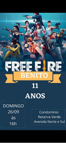 Imagem 1 de 1 de Convite Digital Personalizado Free Fire R$ 15,00