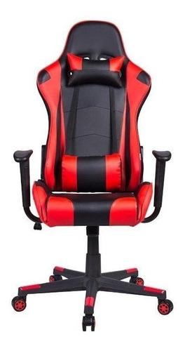 Cadeira de escritório Pelegrin 3012 gamer ergonômica preta e vermelha con estofado do couro sintético